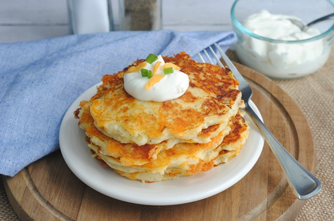 These Leftover Mashed Potato Pancakes are perfect for using up mashed potatoes!