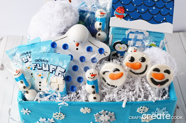 A winter themed indoor snowball fight kit in a blue and white box
