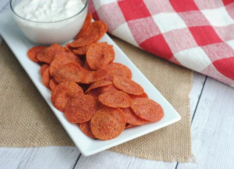 Low Carb Pepperoni Chips are Keto friendly, yummy and quick to make!