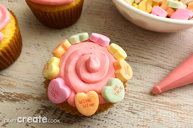 Our Conversation Heart Cupcakes are perfect to share on Valentine's Day!