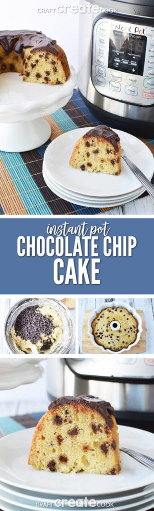 This Instant Pot Chocolate Chip Cake Recipe is dense and rich with a chocolate ganache topping.