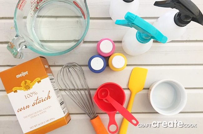 Our DIY Spray Chalk is super fun to play with and only takes a few ingredients.
