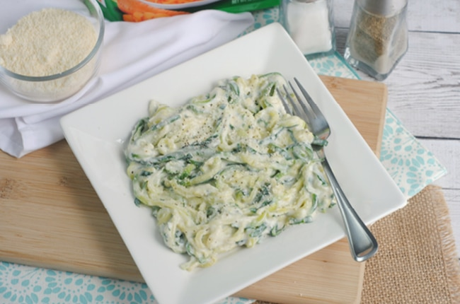 Low carb Keto Alfredo Zoodles are a delicious and easy low carb Keto friendly meal!