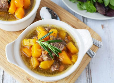 Our wholesome Instant Pot Beef and Squash Stew recipe is BURSTING with flavor and ready in a snap!