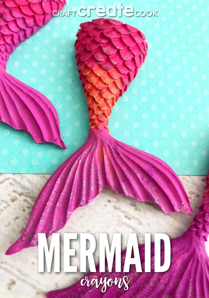 These Mermaid Tail Crayons are the perfect glittery art supply to make drawing more fun.