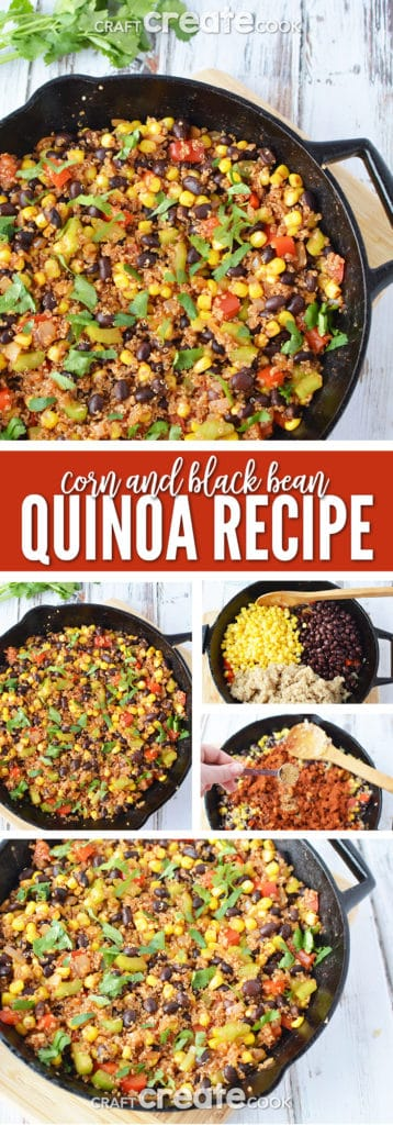 This corn and black bean quinoa recipe makes an excellent side dish or meatless Monday meal solution.
