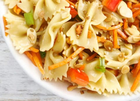 Our Asian Pasta Salad is full of flavor and perfect for any BBQ.