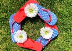 This 4th of July Flip Flop Wreath costs under $10 will have your house looking festive for the 4th of July.