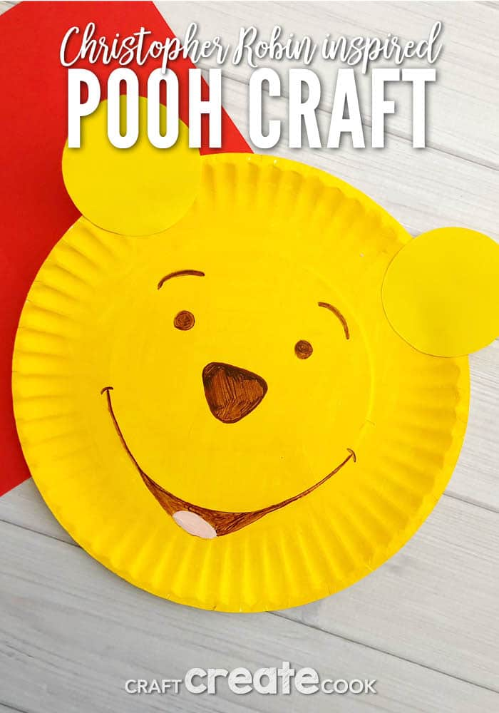 Our Christopher Robin Inspired Pooh Bear Craft is the easiest craft to get you excited about the new Christopher Robin movie in theaters soon.