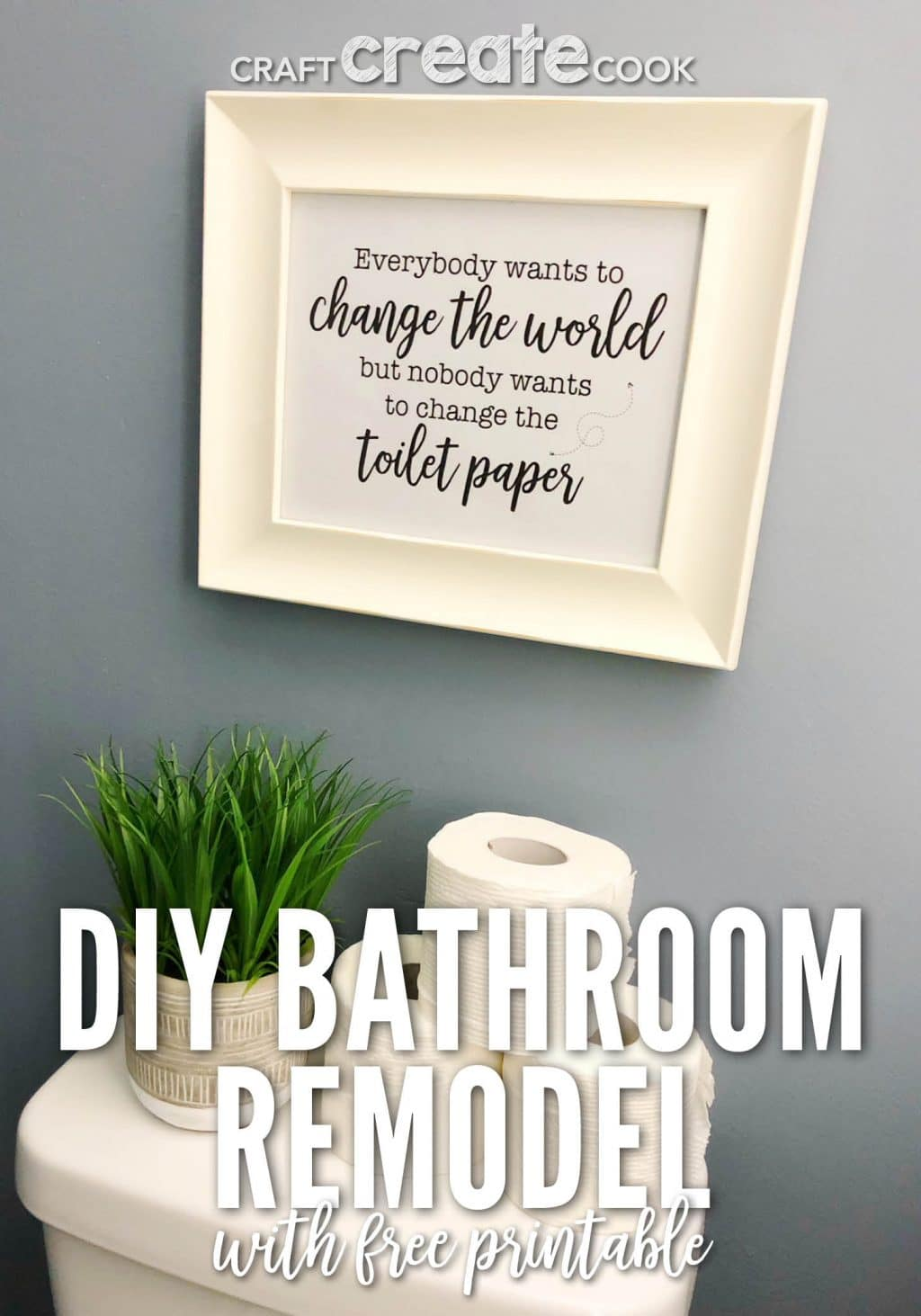 If you love changing around your home decor and giving your home little TLC you'll love our DIY Bathroom Remodel with a Free Printable.