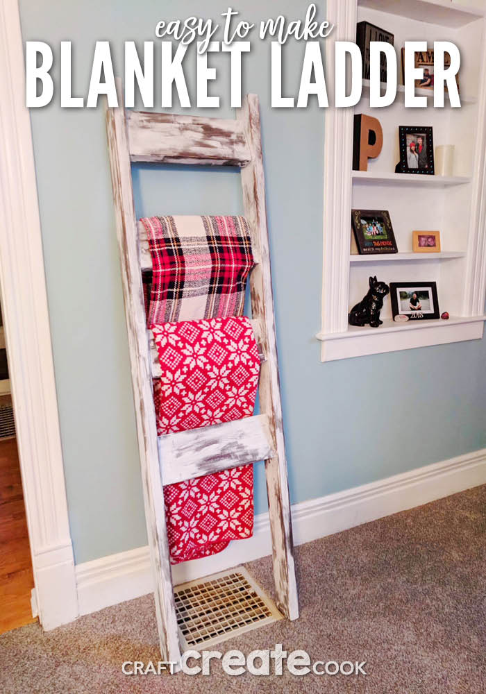 Learn how to Make a DIY Blanket Ladder for under $15 and your friends will think you bought it.
