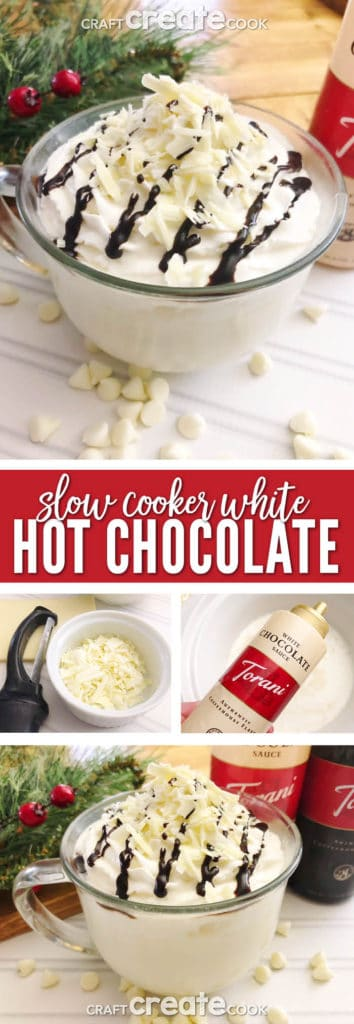 This Slow Cooker White Hot Chocolate tastes like a sweet white chocolate bar and is the best way to warm you up on a chilly day.
