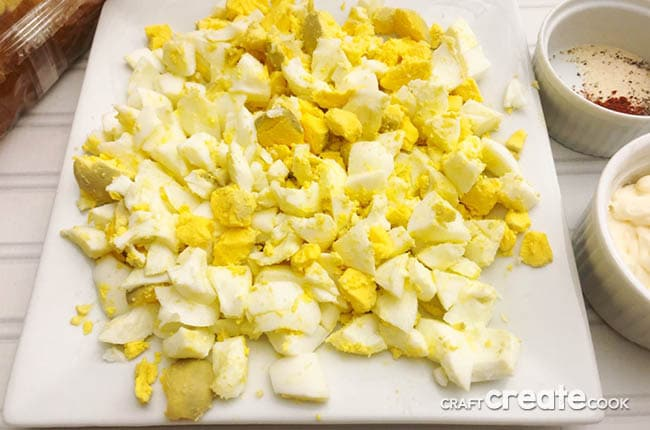 Sliced eggs ready to mix.