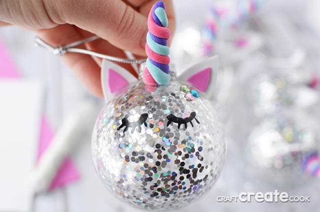 Up close image of a DIY unicorn horn Christmas tree ornament
