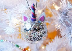 An up close picture of a homemade unicorn horn ornament for Christmas