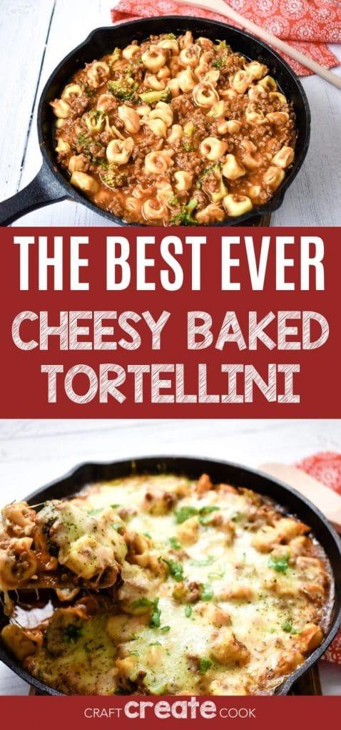 Baked tortellini collage