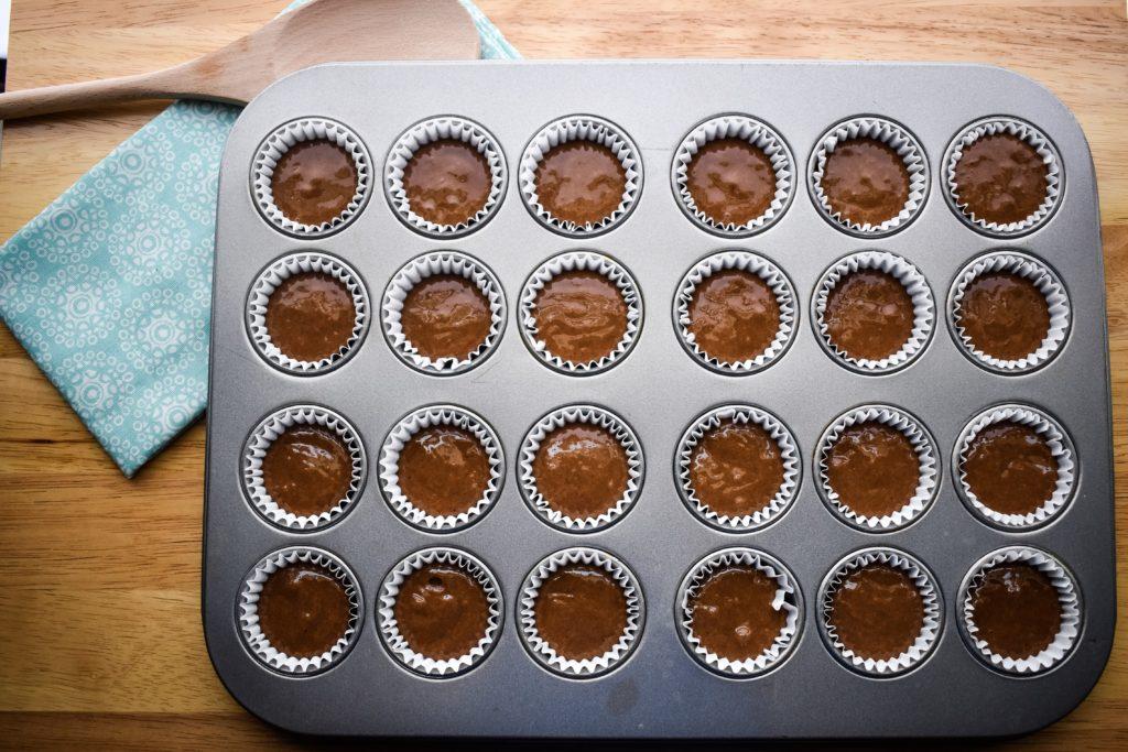 2/3 full mini cupcake liners