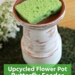 White flower pot butterfly planter with green sponge