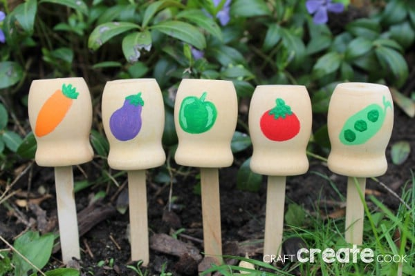 Wooden garden markers in a row