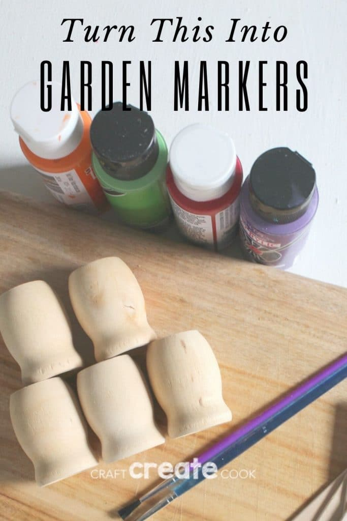 Supplies for wooden garden markers on piece of wood