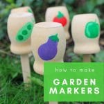 Wooden garden markers in garden