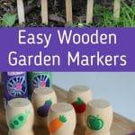 Wooden garden markers collage
