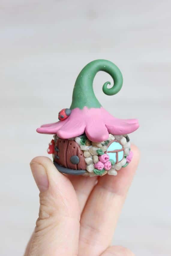Fairy House, mini Fairy house, polymer clay house, Handmade Miniature Fairy House