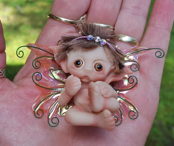 Made To Order, Polymer Clay, Miniature, Baby, Fairy, Handmade, Doll, Sculpted, Art, Fantasy Baby, Original, OOAK,