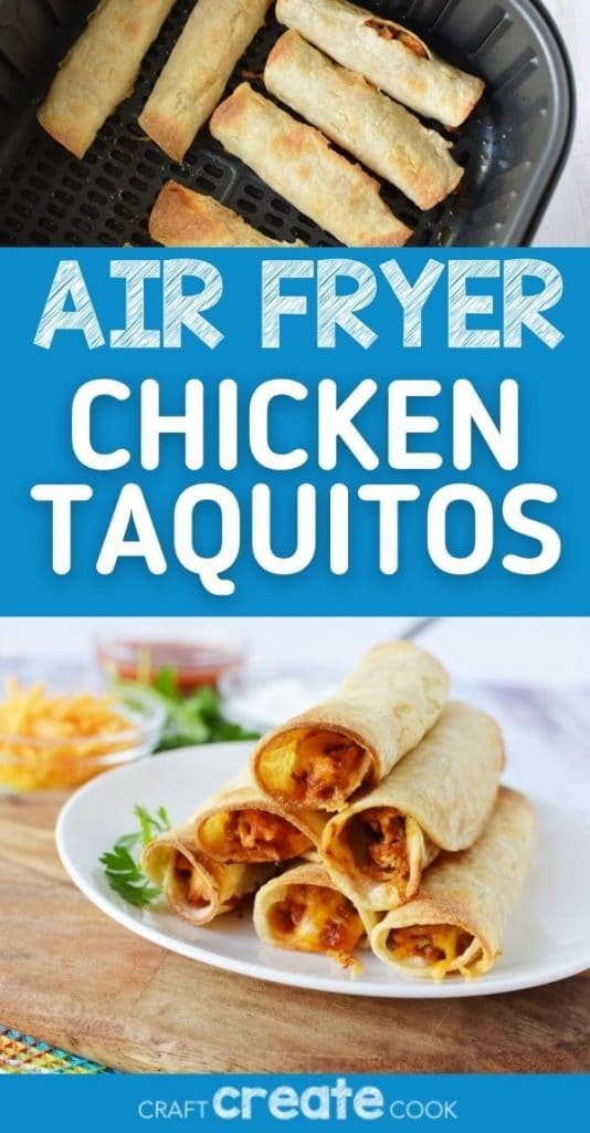 Air fryer chicken taquitos collage