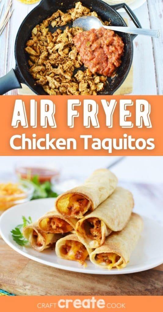 Air fryer chicken taquitos collage