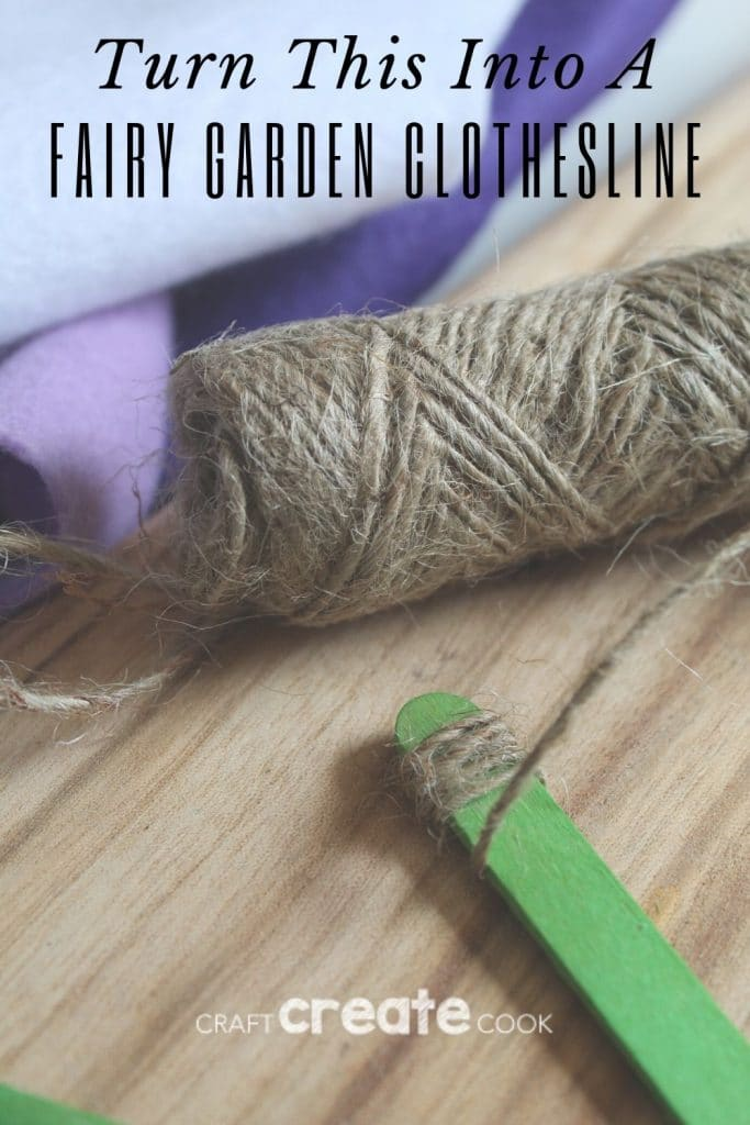 Supplies for fairy garden clothesline