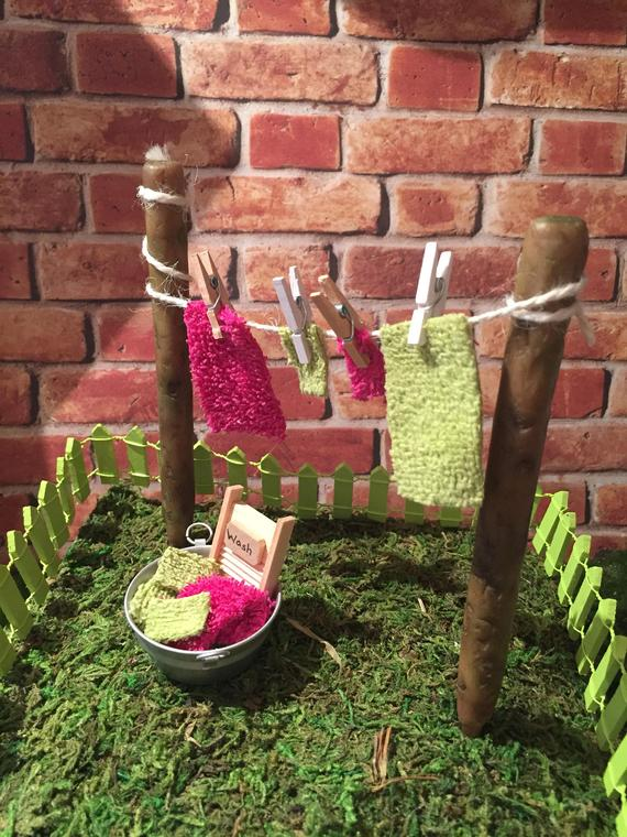 Fairy garden clothesline fairy garden laundry tub mini | Etsy