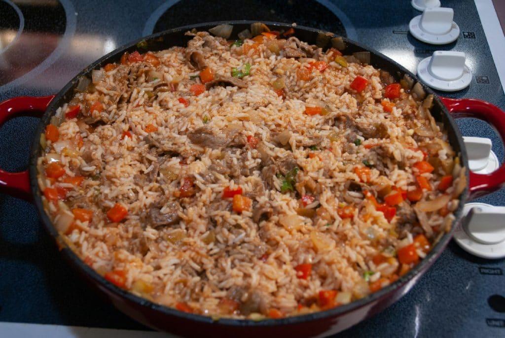 Rice in skillet