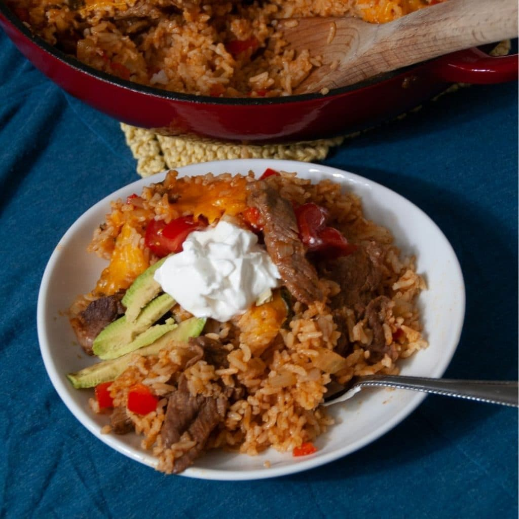 White bowl of Mexican dirty rice