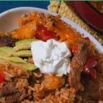 Beef fajita dirty rice bake collage