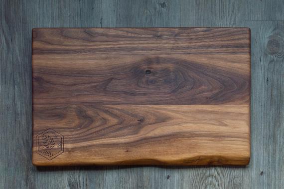Live Edge Cutting Board Walnut Engraved Cutting Board | Etsy