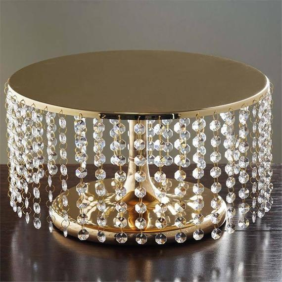 8 Gold Cake Stand with Acrylic Crystal Chains Metal   Etsy