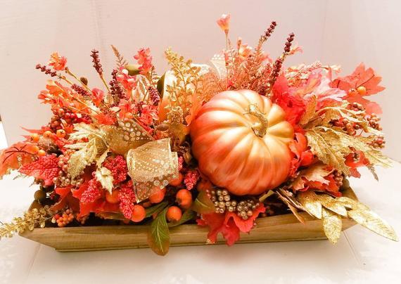 Fall Floral Arrangement Fall Centerpiece Pumpkin Decor Fall | Etsy