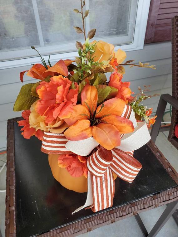 Pumpkin centerpiece fall centerpiece fall decor pumpkin | Etsy
