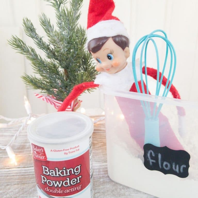 Elf in bucket of flour