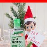 Elf with hand sanitizer