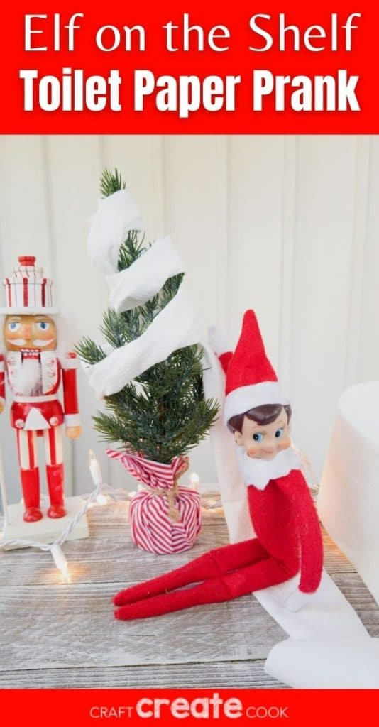 Elf on the shelf with toilte paper tree