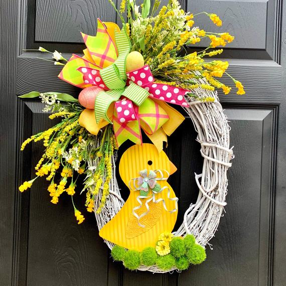 Spring Baby Chick Wreath-Easter Eggs Front Door Hanger-Spring | Etsy