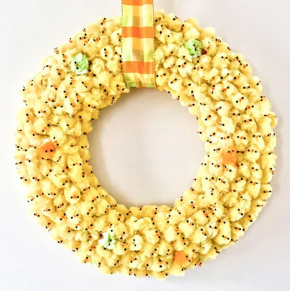 Yellow Chick Wreath Easter Wreath Easter Decor Chenille | Etsy