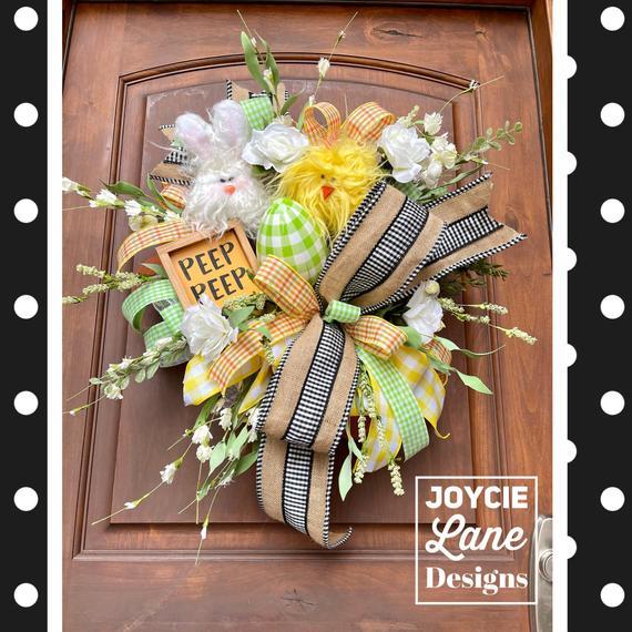 Easter wreath spring wreath Easter front door bunny wreath | Etsy
