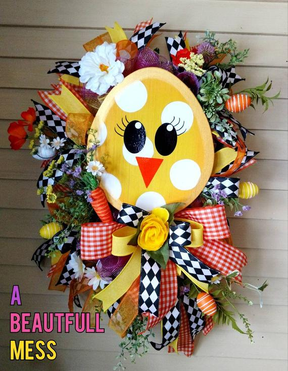 Easter Wreath Spring Wreath Easter Chick Wreath Chick Egg | Etsy