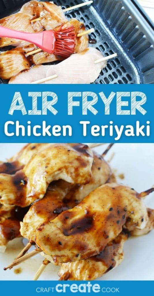 Collage image of chicken teriyaki in air fryer with blue banner across middle