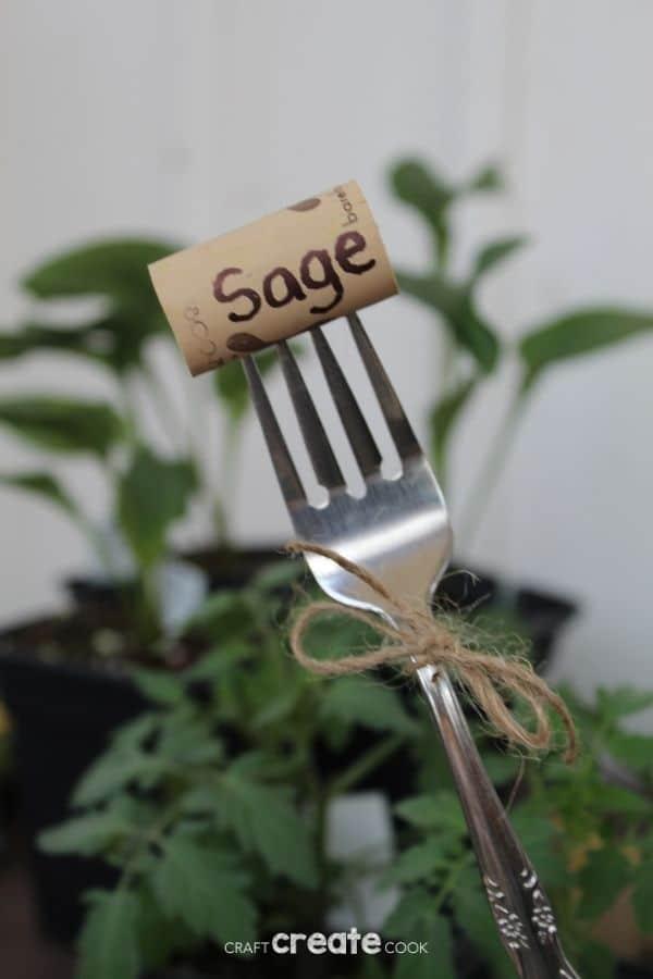 Sage garden marker made of cork